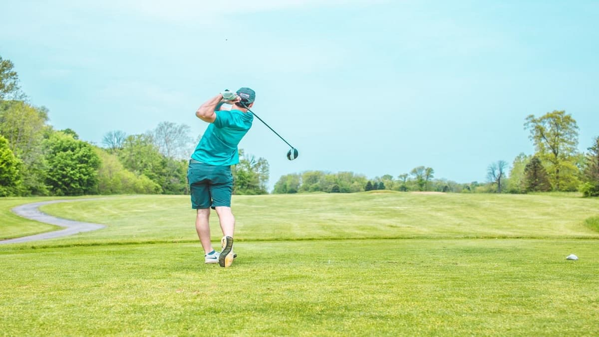 a golfer on a golf course