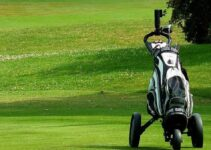 Golf bag in a golf course