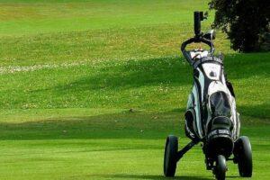 Golf bag in a golf course