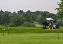 Umbrellas in a golf course